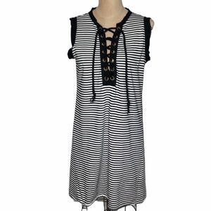 NSF Lace up front striped sleeveless shift Dress